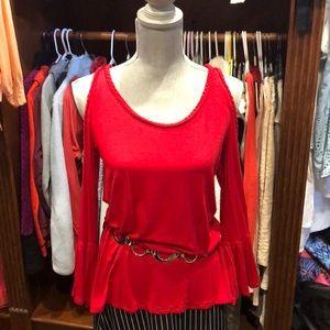 Red Cold shoulder shirt belt/skirt not included